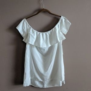 H by Halston M NWT White Off Shoulder Top